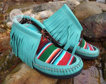 Turquoise Leather Moccasins, Serape Moccasins, Womens Moccasins, Leather Moccasins, Serape Leather Boots, Mens Moccasins, Cowgirl Boots,