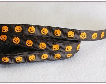 1 meter of Ribbon 10mm orange halloween pumpkin pattern