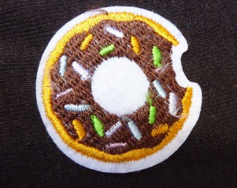 Embroidered patch fusible mini donuts sweet kawaii x 1