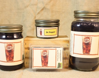 Dr. Pepper Scented Candle, Dr. Pepper Scented Wax Tarts, 26 oz, 12 oz, 4 oz Jar Candles or 3.5 Clam Shell Wax Melts