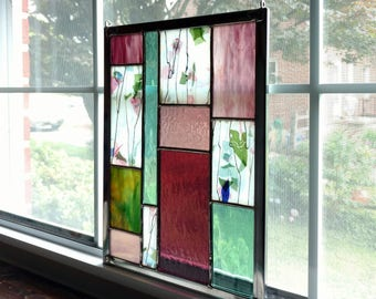 Pink and Green Geometric Stained Glass Panel, Stained Glass Window, Suncatcher, Privacy Screen, Garden Decor, Modern Glass Art , Floral Art