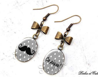 Earrings cabochon mustache stings! Black and white polka dot bow ღ