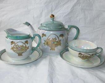 1930s Noritake Green & Pearl Luster Teapot, Cup, Saucers, Creamer, Raised Gold Basket with Butterfly Design