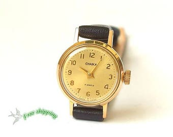 Tiny womens watch Chaika. Watches for women. Minature watch. Vintage Russian womens wrist watch. Mechanical gold plated watch 80s. Gift her.