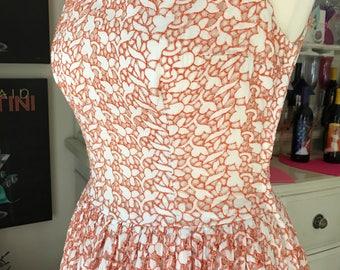 Adorable 1950's Orange & White Eyelet Sundress