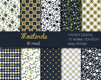 Matching digital paper mustard for scrapbooking, home deco.