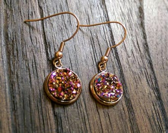 Sparkly Faux Druzy Stud Earrings made of Stainless Steel Rose Gold Choose colour Rose Gold, Pink Rose & AB Rainbow