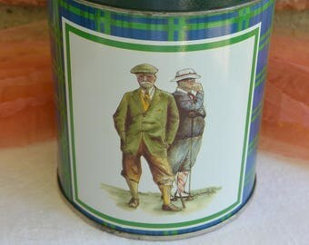 Golf Men Tin  - B Brent Atwater, White Blue & Green Plaid, Made in USA - Vintage - Fabulous!
