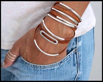 WRAP Bracelet - Leather Wrap Bracelet - Adjustable Cascading Genuine Real Leather Cord Silver Curved TUBES Triple Wrapped Bracelets - Usa