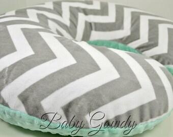 Minky Boppy Cover - Silver Chevron Minky - Opal Minky Dimple Dot - Nursing Pillow Cover - Double Minky - Boppy Pillow Sham