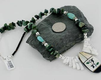 Large 330 Tag Inlaid KachinaAuthentic Navajo .925 Sterling Silver Jade and Turquoise Native American Necklace Native-Bay 390662590043