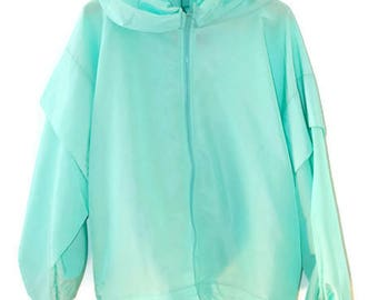 Neon Aquamarine Nineties Nylon Sport Athleticwear Jacket oversize with hood zip up track suit