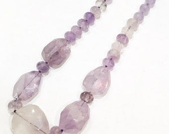 Chunky Amethyst Necklace on 925 Silver Clasp