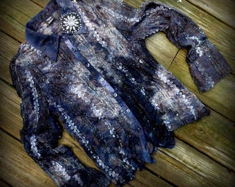 Top, Upcycled, Black Lace, Romantic, Gift, Art,  Shabby Chic, Accessories, Victorian, Embellishments