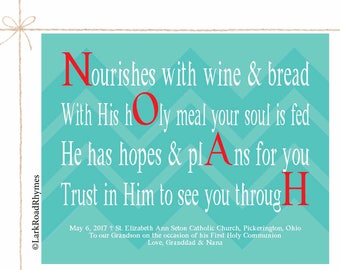 First Communion Gifts For Boys Godchild Gifts Christian Wall Art Religious Prints Gift For Godson 1st Communion Poem 8x10 Noah