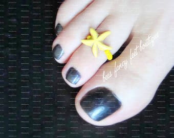 Toe Ring | StarFish | Constituted Precious Stone | Yellow Stretch Bead Toe Ring