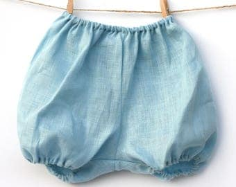 Bloomers baby sky blue linen 3-4 years