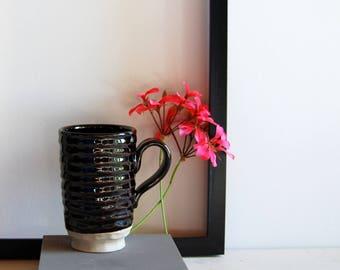 Stoneware mug Hand thrown mug Brown ceramic and pottery Tea mug Coffee mug Cocoa mug Faceted ceramic One of a kind mug Shiny glazed ceramic