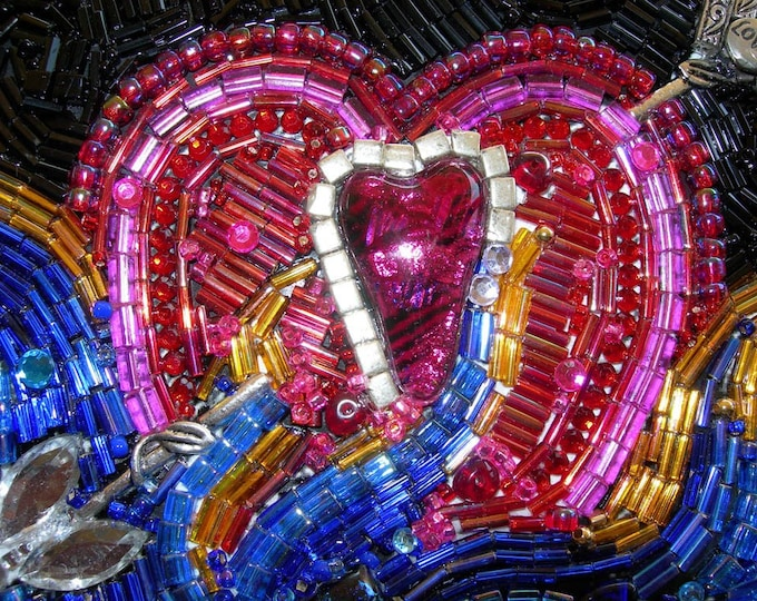 Hearts Live By Being Wounded Beaded Mosaic Art