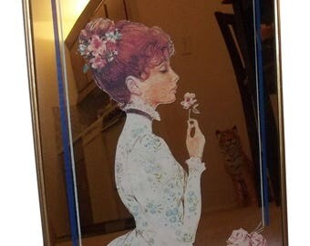"""VINTAGE Decorative Hanging Framed Wall Mirror 15"""" x 11"""", Girl and Floral Flowers, Household Bedroom Bathroom Livingroom MIrror Collectible"""