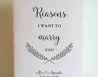 Reasons I Want To Marry You Wedding Booklet - Medium Size Engagement or Wedding Gift