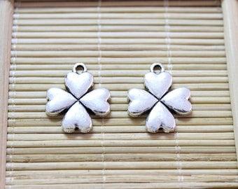15 antique silver four leaf clover pendant charms
