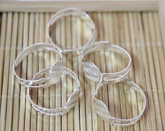 50 blank ring silver adjustable metal