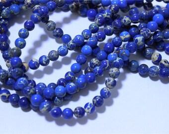 a strand of beads Aqua Terra Jasper round 6mm blue indigo