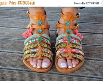 25% Off Boho Gladiator Sandals, Greek Sandals, Leather Sandals, Friendship Bracelets Sandals ''Angel's Wing''