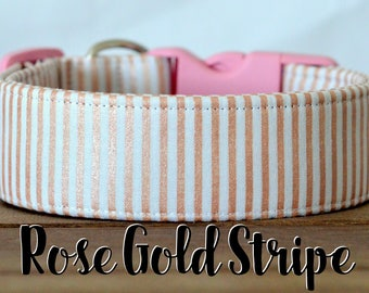 "Classic Rose Gold & White Charming Striped Dog Collar ""Rose Gold Stripe"""