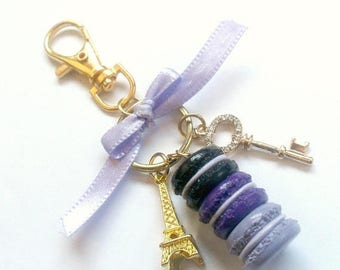 ON SALE Amethyst Macaron Trio Eiffel Tower Keychain, Purple, Black, Purse or Bag Charm, Cute And Kawaii :D