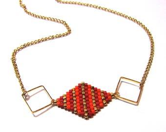 Diamonds, pearls Miyuki of orange, red, gold plated necklace