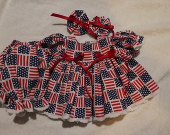 "14"" Cabbage Patch Doll clothes - Patriotic dress bloomers & bows,handmade,14 "" dress,doll clothes,doll dress,cabbage patch dress"