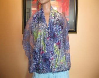 """scarf/scarf - woman - lace and fabric - pattern """"Ariadne"""""""