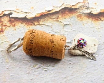 Beach key chain - Pretty keychains - Champagne cork key chain - Key chains for women - Gift for wine lover - Nature key ring - Wine corks