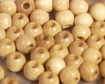 10 raw wood beads round 4mm