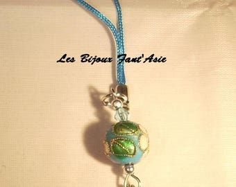 Bicone glass beads and Chinese turquoise glazed bead bag charm