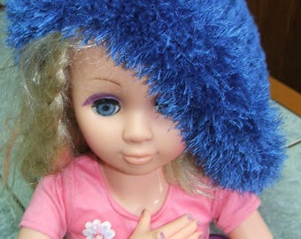 Beret or hat - electric blue - one size - handmade-
