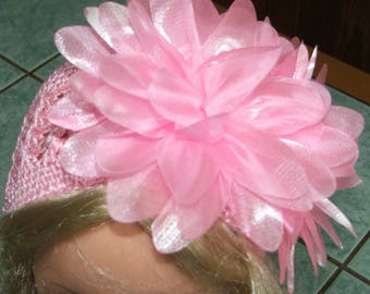 Pink Hat with flower crochet for baby girl 1/3 years
