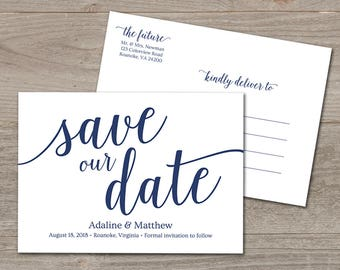 Navy Save the Date Template // Editable Save the Date Navy Wedding // Save Our Date Download // Save the Date Printable Postcard
