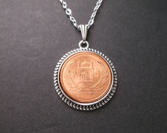 Afghanistan  Coin Necklace - Afghanistan  Coin Pendant in pendant tray
