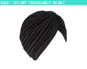 Black Turban Hat Headwrap