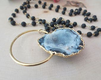 Agate geode gold necklace, large agate geode long necklace, agate geode pendant necklace, lava chain necklace, statement necklace
