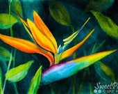 Bird of Paradise Art Print, Tropical Flowers Watercolor Painting, Hawaiian Flower Print, Colorful Wall Art, Tropical Decor, Botanical Art