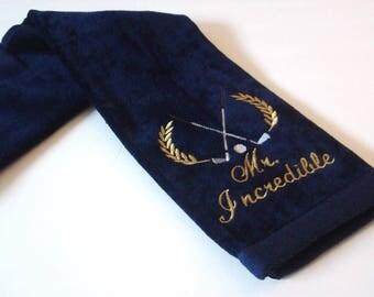 Monogram Golf Towel, 2 Line Personalized Golf Towel, Golfer Gift, Birthday Gift