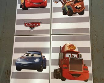 Set of 4 printable Disney Pixar Cars prints with grey stripes Lighting Mcqueen digital