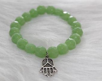 Boho Beaded Bracelet: Green Beads with Hamsa Hand