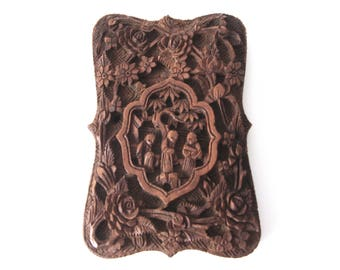 Chinese Cantonese Hand Carved Sandalwood Calling Card Case