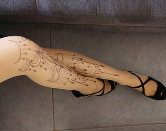 New Beautiful Tattoo Tights, Printed Pantyhose, Hand printed  Tights, S-XXL Sizes Available