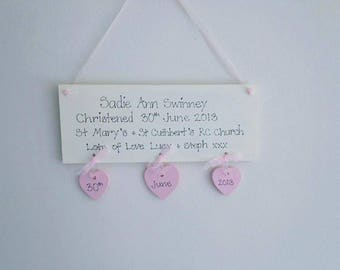 Personalised Christening plaque/New baby gift/baby nursery/personalised christening gift